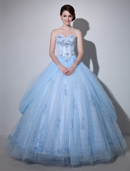 Milanoo Blue Wedding Dress Lace Ball Gown Floor-Length Sweetheart Strapless Beading Princess Bridal Gown