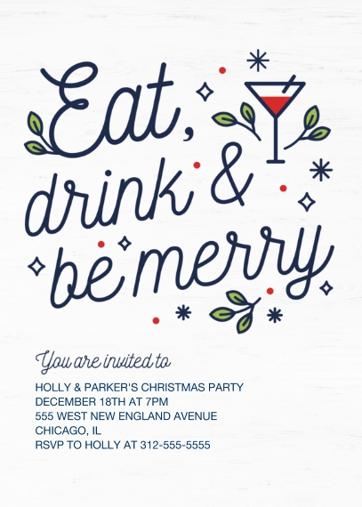 Christmas & Holiday Party Invitations 5x7 Cards, Premium Cardstock 120lb, Card & Stationery -Merry Martini