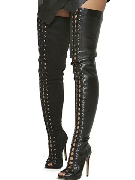 Milanoo Black Thigh High Boots Womens PU Lace Up Peep Toe Stiletto Heel Over The Knee Boots