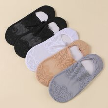 5pairs Lace Flower Boat Socks
