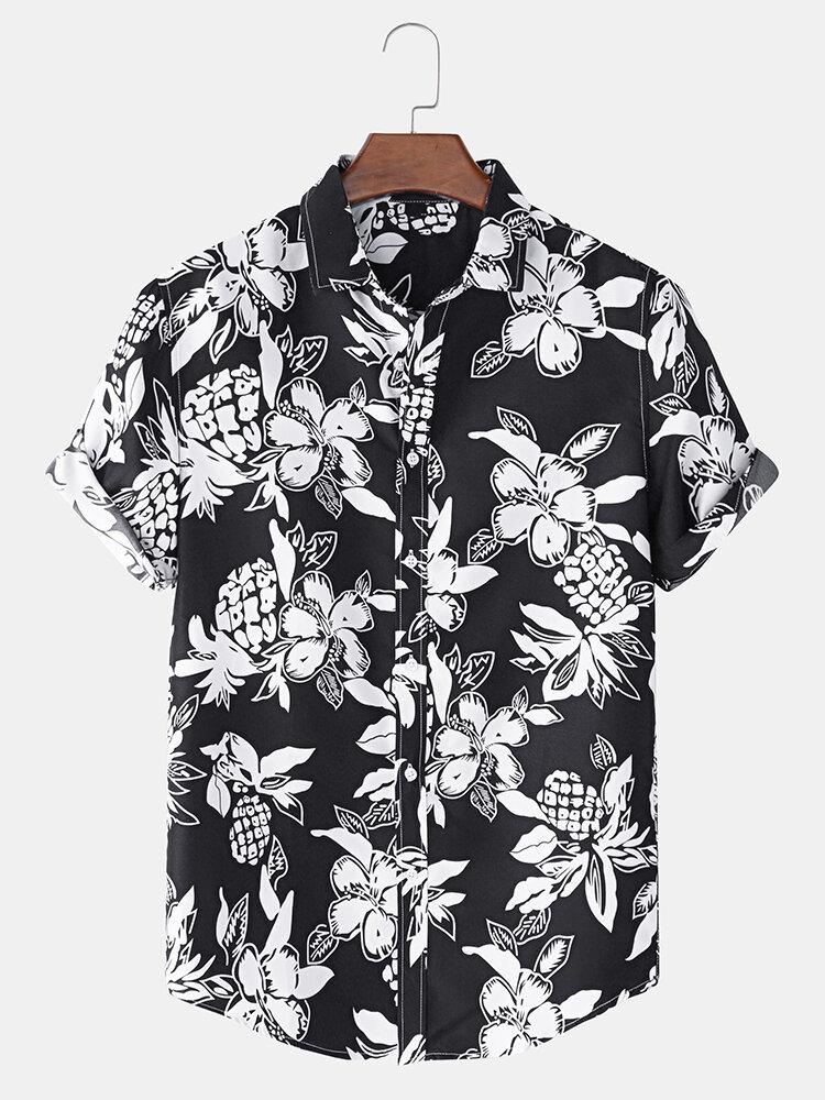 Mens Classical Pineapple Print Short Sleeve Shirts