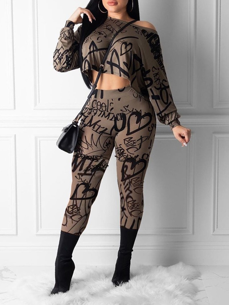 Ericdress Casual Letter Print Pullover Two Piece Sets