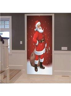 Father Christmas 3D Door Mural Cartoon Christmas PVC Stickers