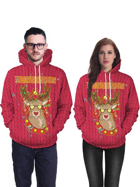 Milanoo Unisex Christmas Hoodie Print Long Sleeve Ugly Christmas Sweater