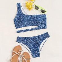 Dalmatian Cut-out One Shoulder Bikini Swimsuit