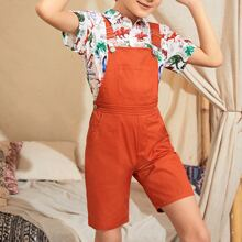 Boys Crisscross Adjustable Strap Pocket Front Overall Shorts