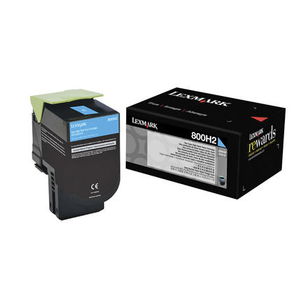 Lexmark 800H2 80C0H20 Original Cyan Toner Cartridge High Yield