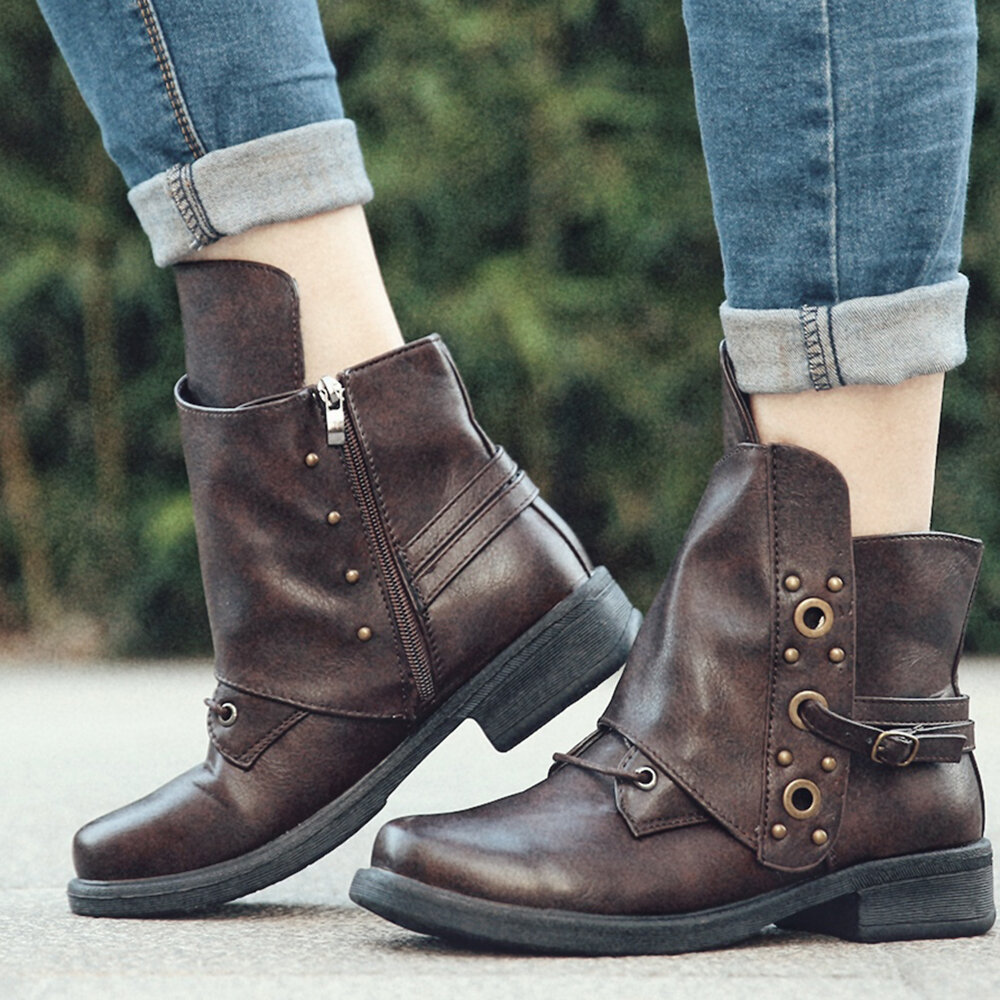 Women Rivet Buckle Decoration Zipper Block Heel Motorcycle Ankle Boots