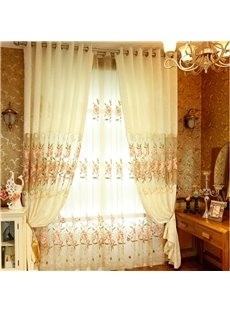 Beige Organza with Embroidered Pink Peach Flowers Romantic and Elegant Window Sheer Drapes