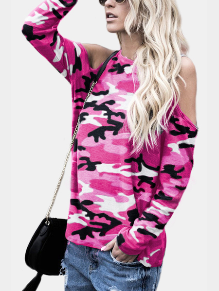 Yoins Pink Camouflage Round Neck Cold Shoulder Long Sleeves T-shirt