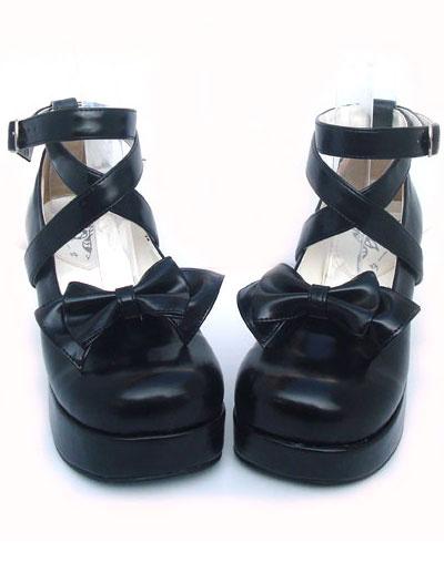Milanoo Sweet Lolita Shoes Chunky Heel Black Bow PU Lolita Shoes
