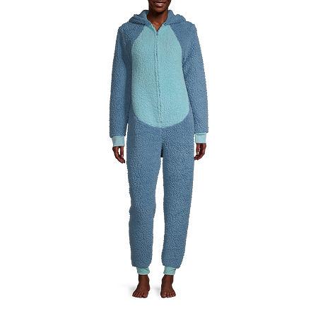 Disney Collection Womens Stitch Long Sleeve One Piece Pajama, Medium , Blue