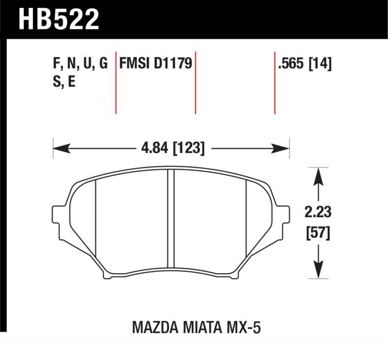 Hawk Performance HB522U.565 Disc Brake Pad Mazda Miata Front 2006-2014
