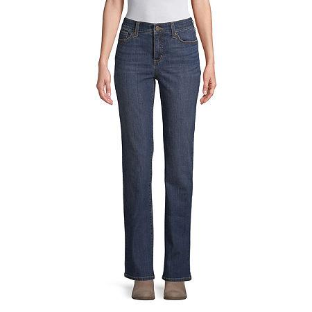 St. John's Bay Womens Mid Rise Straight Leg Jean, 8 Short , Blue