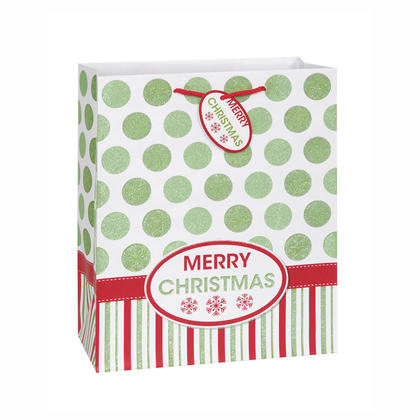 Merry Christmas Dots Large Gift Bag, 13 x 10.5 x 5.5 in, 1ct