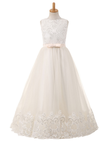 Milanoo Flower Girl Dresses Tulle Bows Lace Sequins Applique Pageant Dresses Round Neck Sleeveless Champagne Floor Length Party Dress