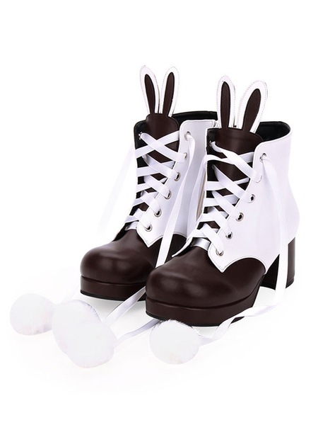 Milanoo Classic Lolita Boots Bunny Ear Pom Pom Two Tone Chunky High Heel Lolita Shoes