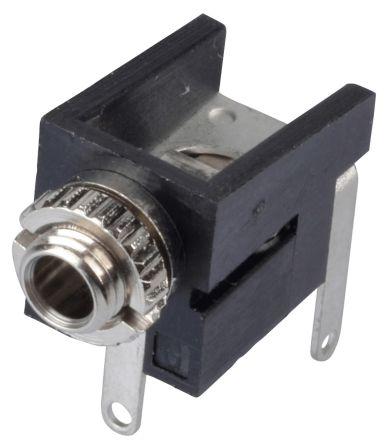 Lumberg 2.5 mm PCB Mount Mono Jack Socket, 2Pole 300mA, Black (5)