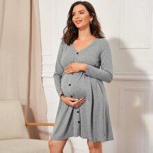 Maternity V-neck Button Front Dress