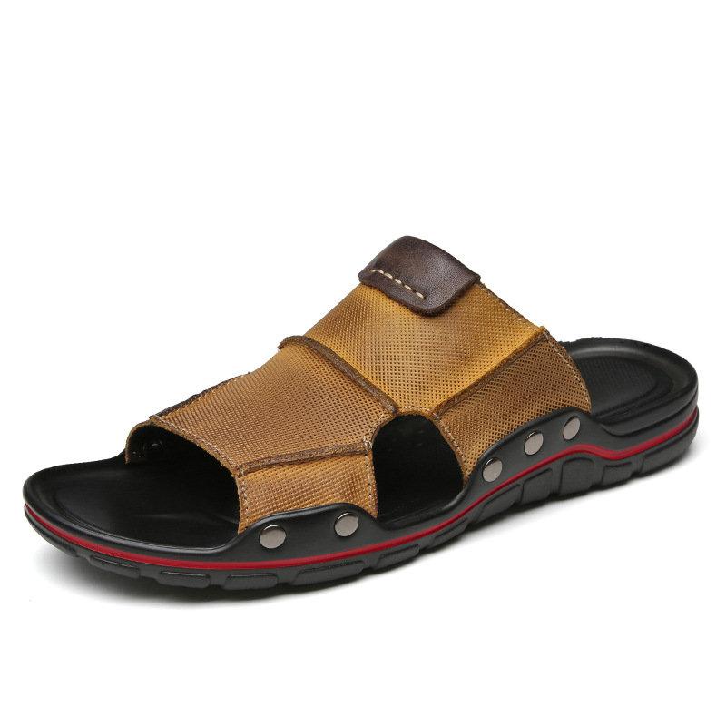 Men Retro Leather Non Slip Soft Casual Beach Slippers