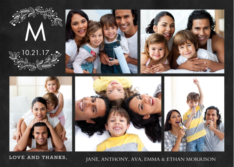 Thank You 5x7 Cards, Premium Cardstock 120lb with Scalloped Corners, Card & Stationery -Thank You Monogram Branches
