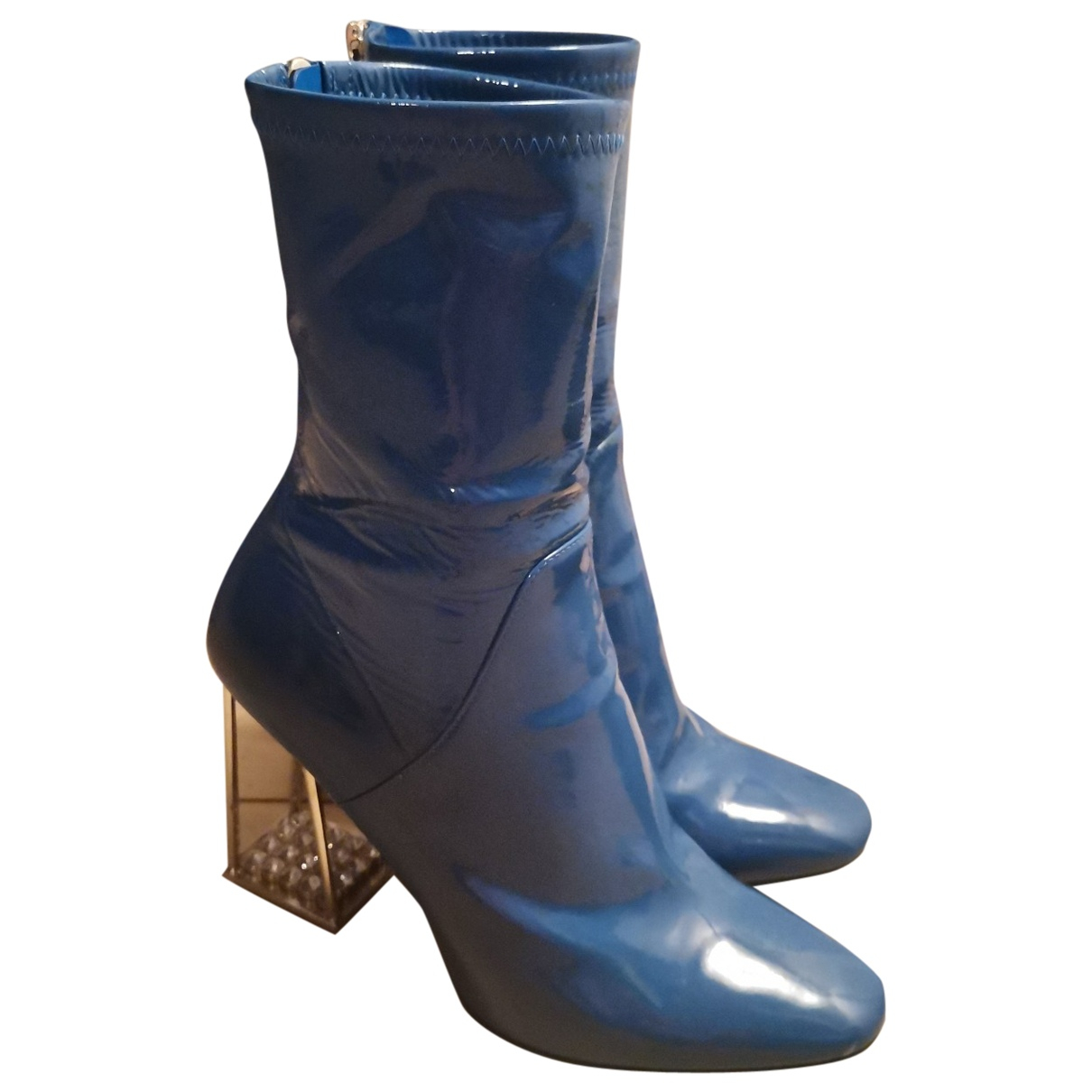 Dior \N Blue Patent leather Ankle boots for Women 37.5 EU