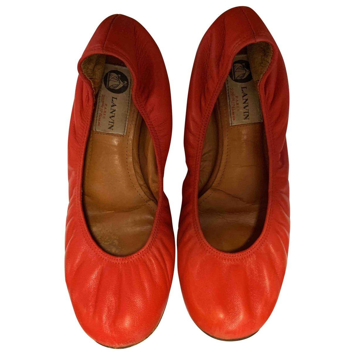 Lanvin \N Red Leather Ballet flats for Women 37.5 EU