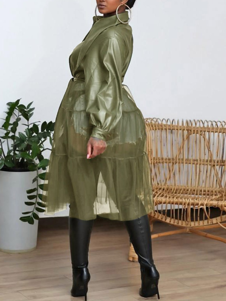 LW lovely Street Turndown Collar Patchwork See-through Olive Blouse