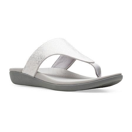 Clarks Womens Brio Vibe Flip-Flops, 7 Medium, White