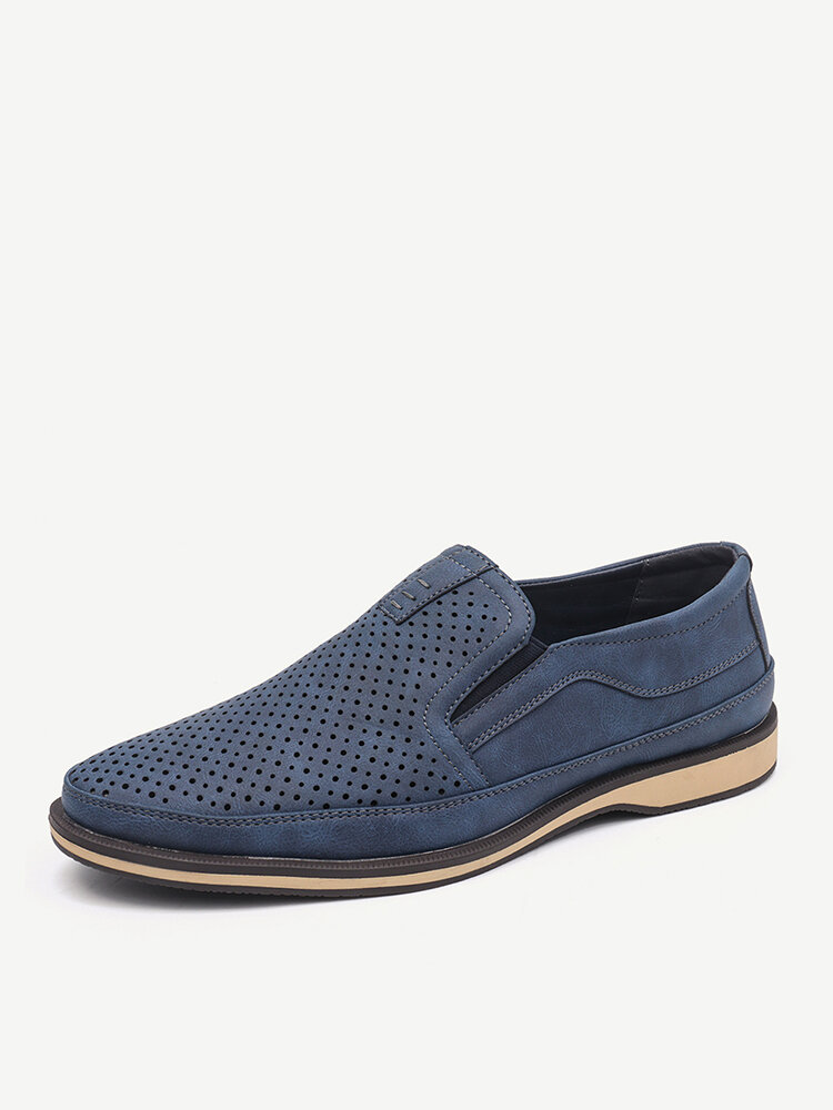Menico Men Hole Breathable Stylish Slip On Business Casual Leather Shoes