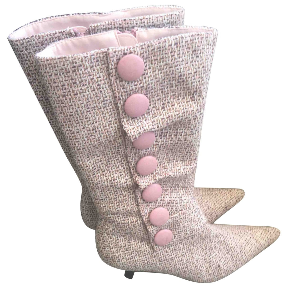 Non Signé / Unsigned \N Pink Cloth Boots for Women 37 EU