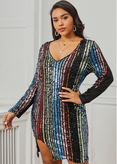 Sequin Long Sleeve Plus Size Dress - XL