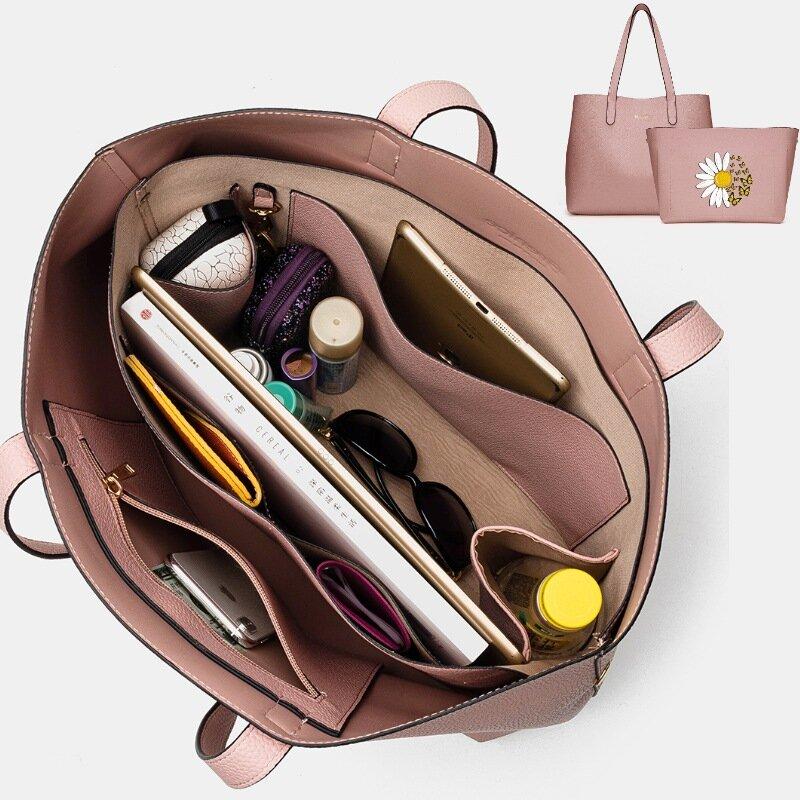 Women 2 PCS Multi-pocket Floral Large Capacity Removable Key Multifunctional Handbag Tote