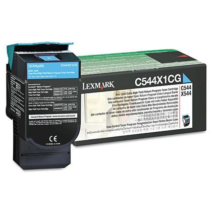 Lexmark C544X1CG cartouche de toner du programme retour originale cyan haute capacite