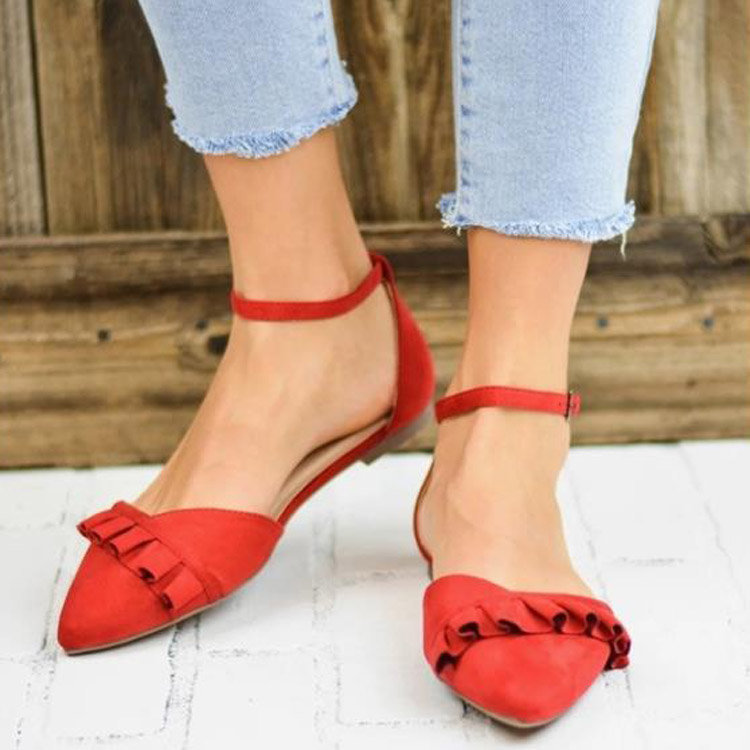 Plus Size Women Pointed Closed Toe Buckle Strap Flat Sandals
