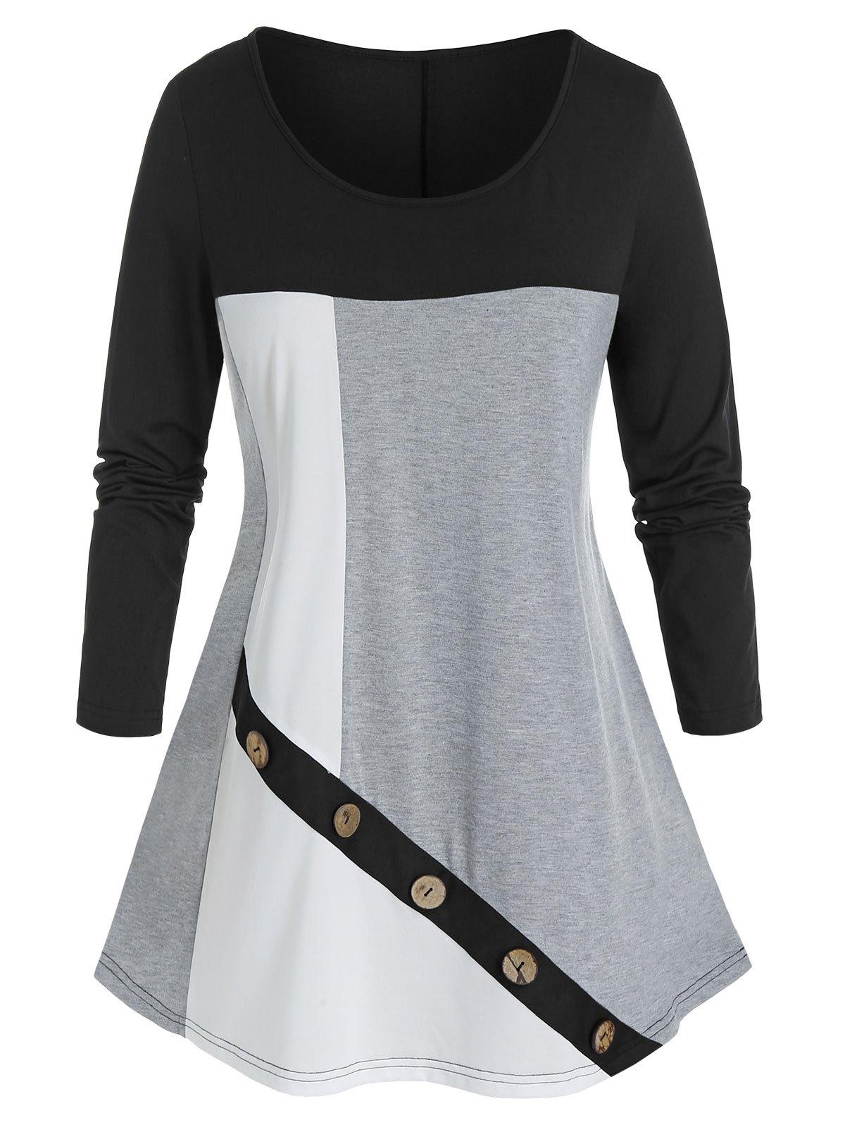 Plus Size Colorblock Mock Button T Shirt