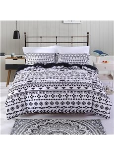 Black And White Geometry Pattern Business Style Polyester 4-Piece Bedding Sets/Duvet Cover