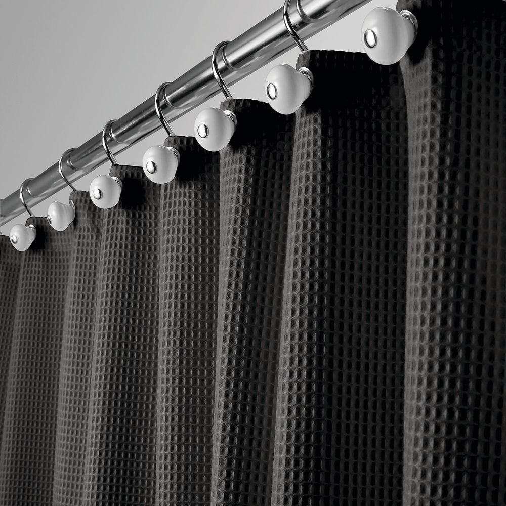 LONG Waffle Weave Fabric Shower Curtain, in Black, 72