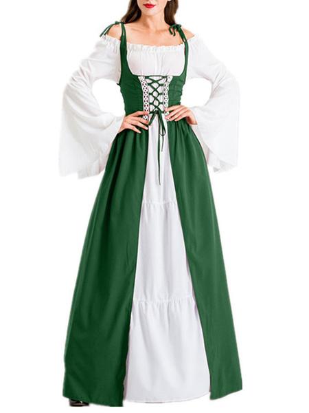 Milanoo Medieval Retro Dress Renaissance Gown Lace Up Vintage Costume