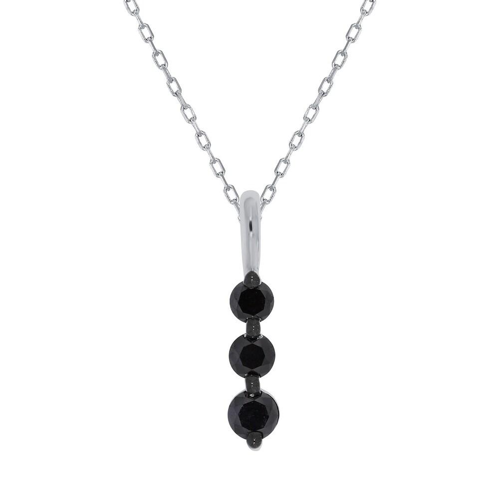 Prism Jewel 0.47Ct Round Black Diamond 3-Stone Pendant (Sterling Silver - N/A - Rose)