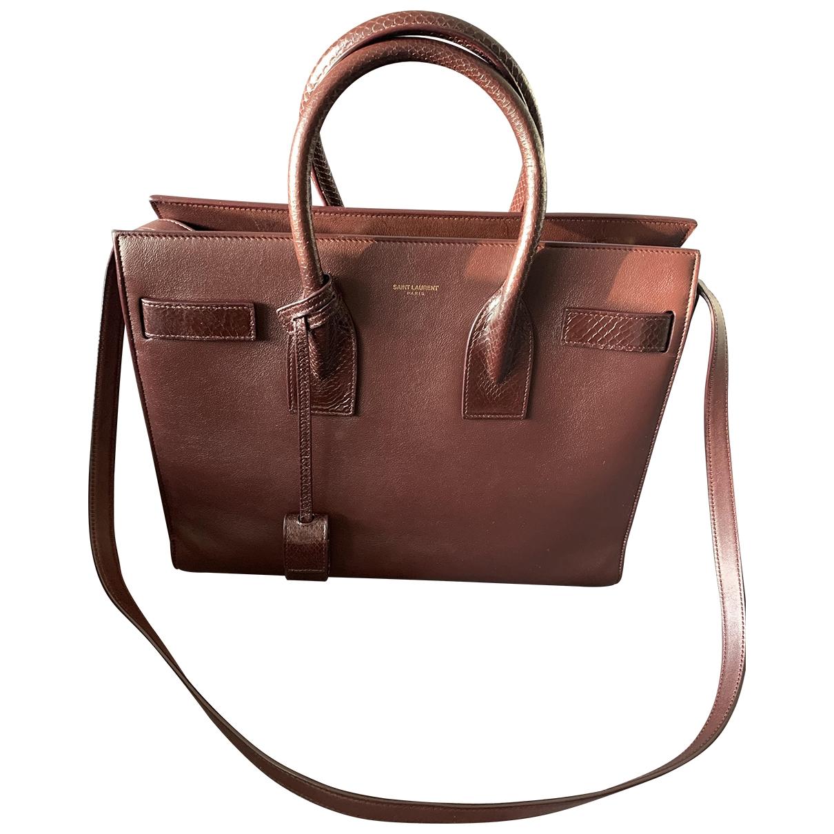 Saint Laurent Sac de Jour Burgundy Leather handbag for Women \N