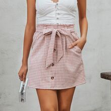 Button Front Belted Plaid Skirt