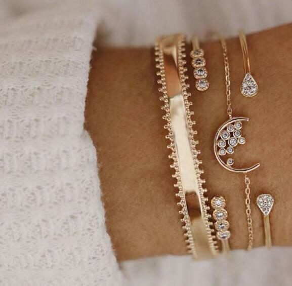 Trendy Moon Chain Bracelet Set Water Drop Rhinestone Open Bracelet Kit Vintage Jewelry