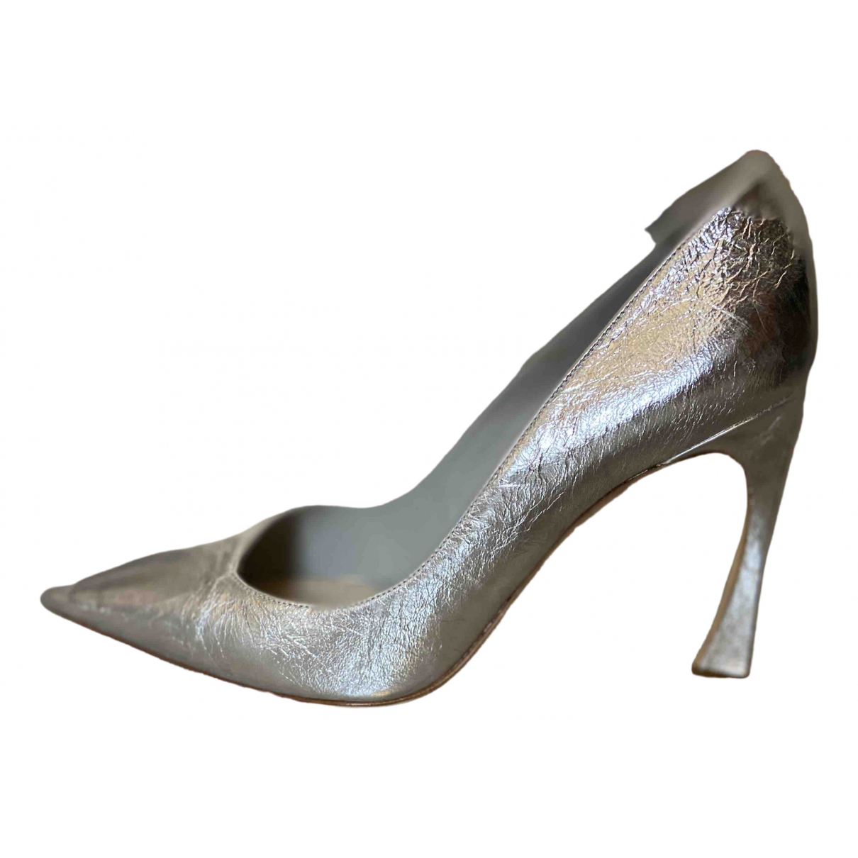 Dior Dior D-Stiletto Silver Leather Heels for Women 40 EU