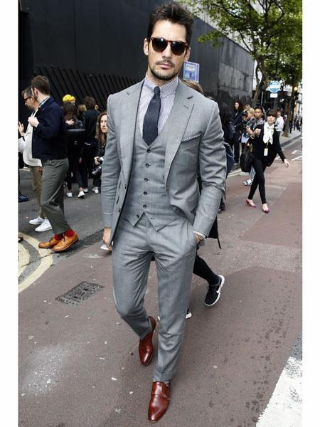 Light Gray Summer Wedding Linen Vest & Pants 3 Piece 2 button Suit