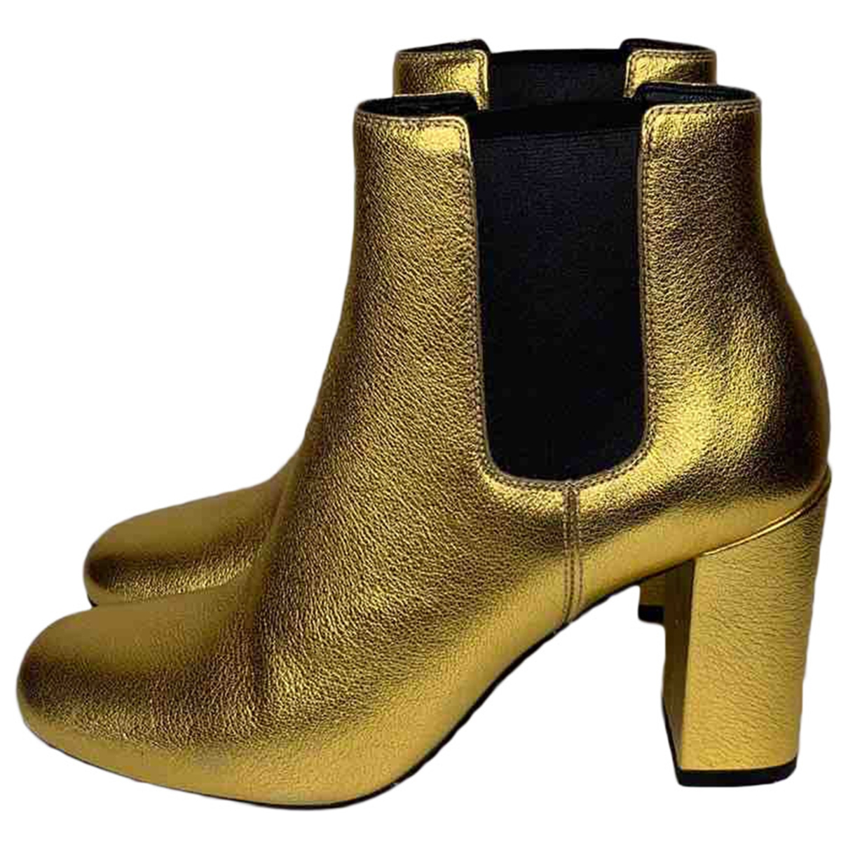 Saint Laurent \N Gold Leather Ankle boots for Women 36.5 EU