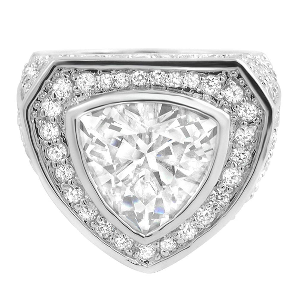 .925 Sterling Silver Trillion CZ Bling Bling Ring