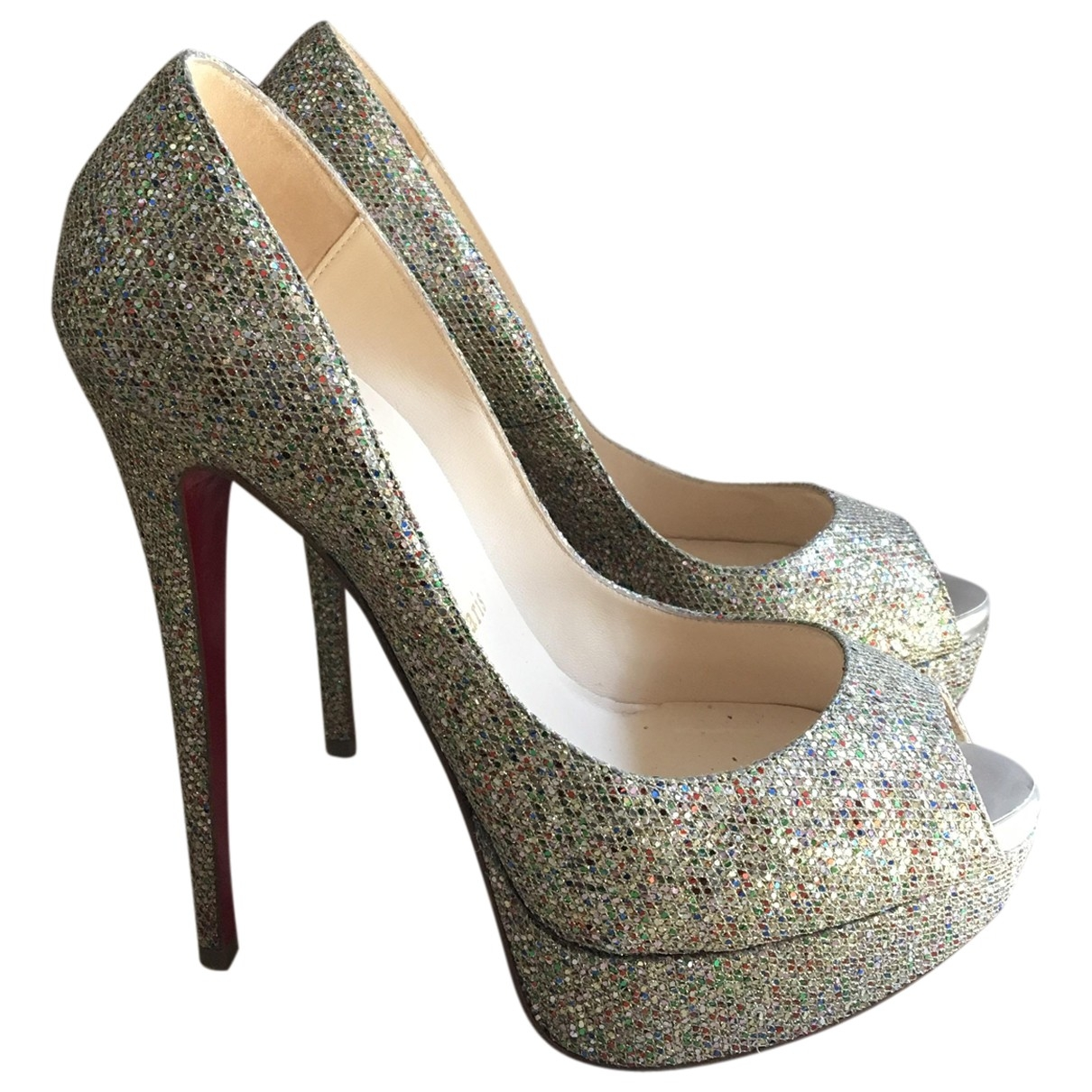 Christian Louboutin Lady Peep Gold Glitter Heels for Women 37.5 EU