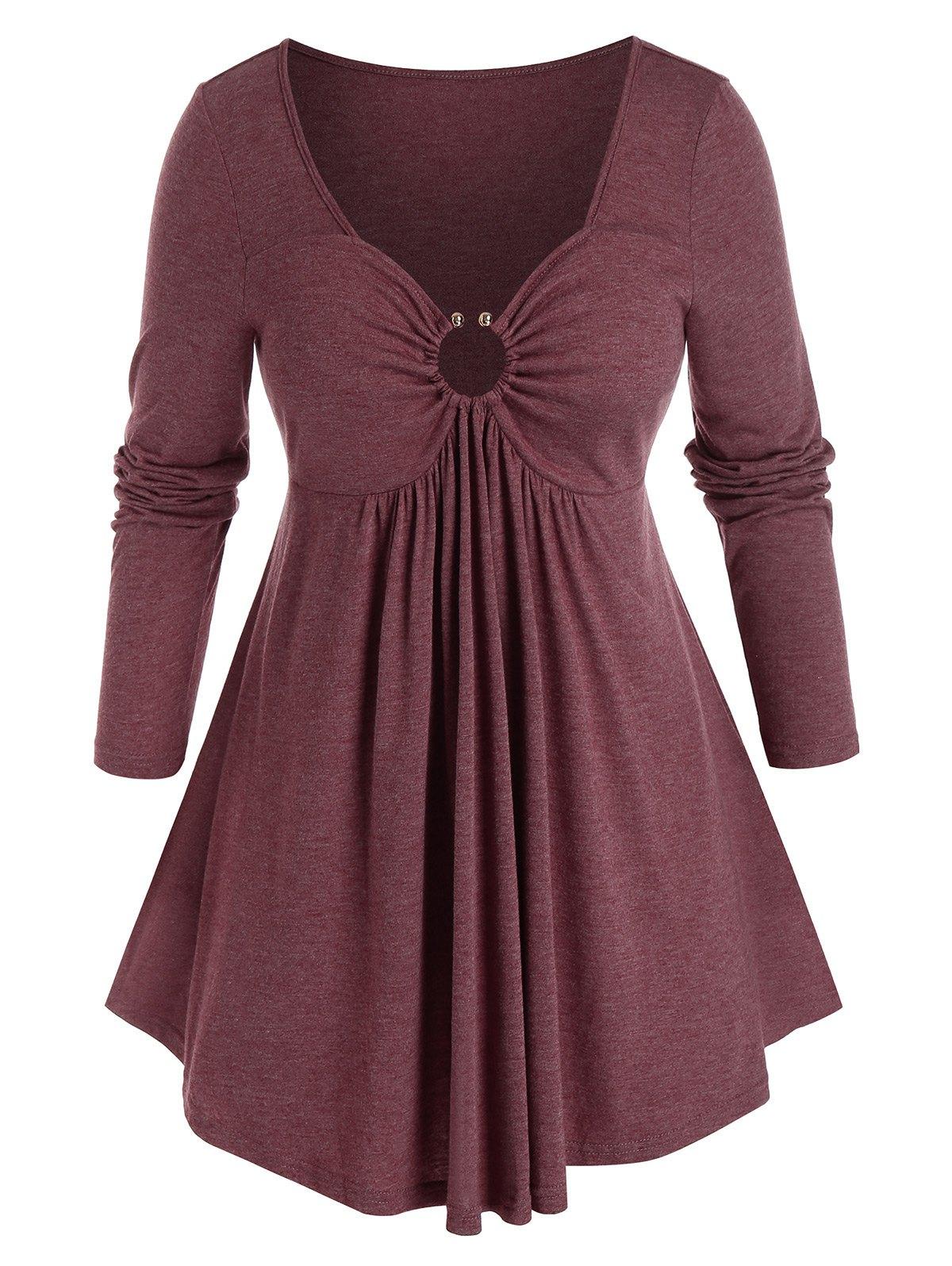 Plus Size O Ring Heathered Empire Waist T Shirt
