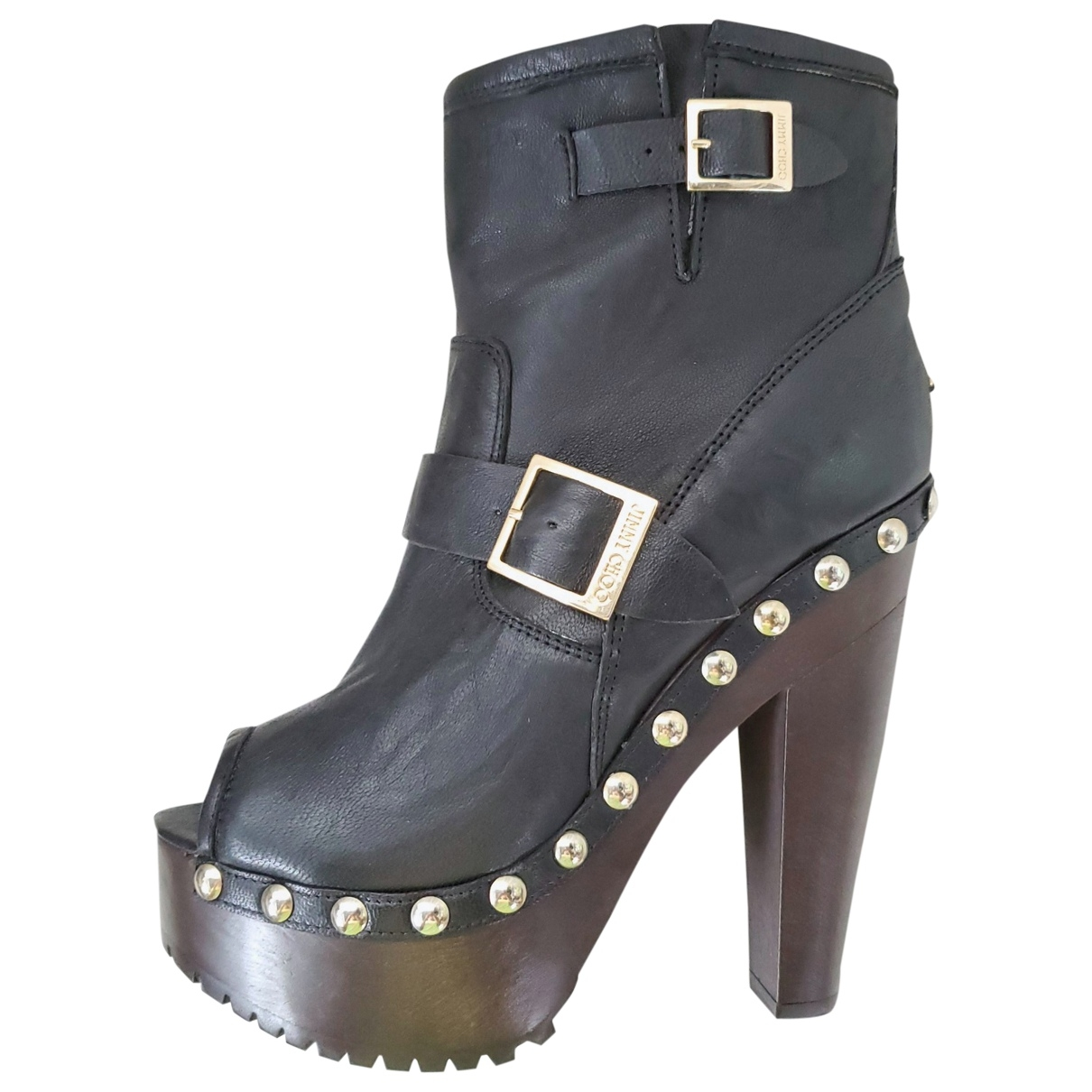 Jimmy Choo \N Black Leather Ankle boots for Women 38 EU